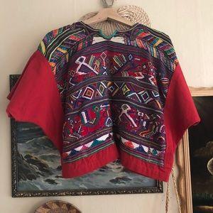 Tops - Handmade vintage woven crop top